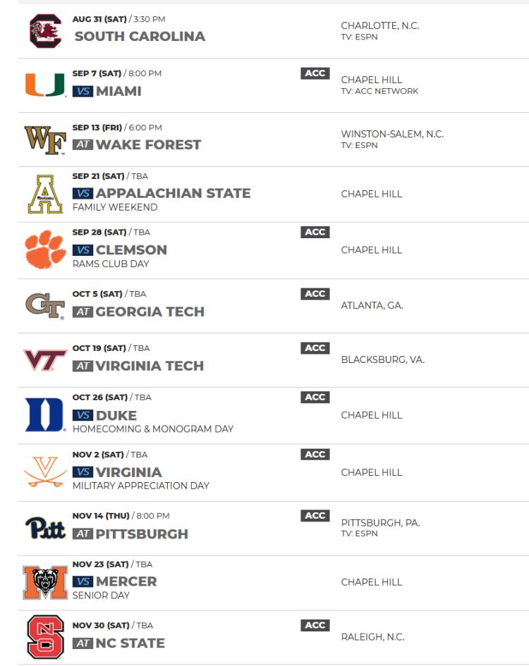 UNC Chapel Hill 2019 Football Schedule
