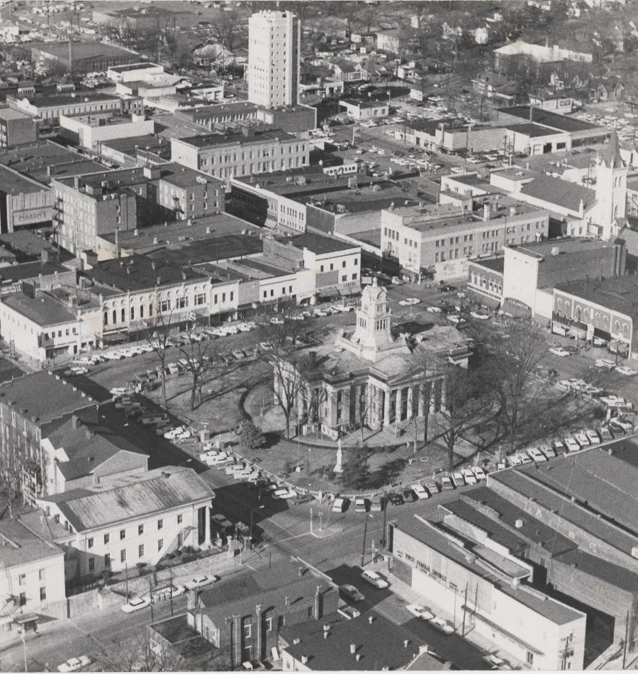 An aerial photograph of the Madison County Courthouse, taken in 1963.