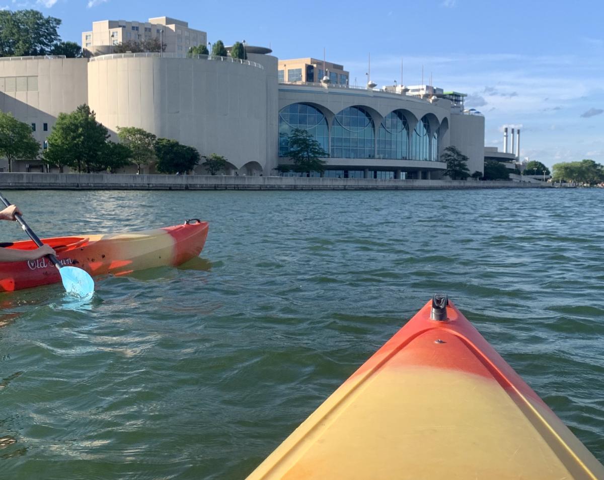 Two kayaks on Lake Monona near Monona Terrace in Madison, WI