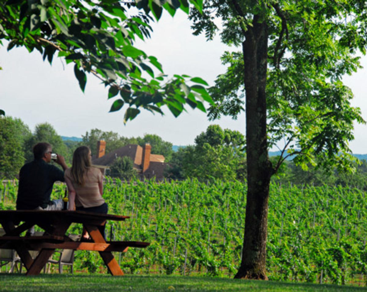 Couple overlooking Winery at La Grange vineyards