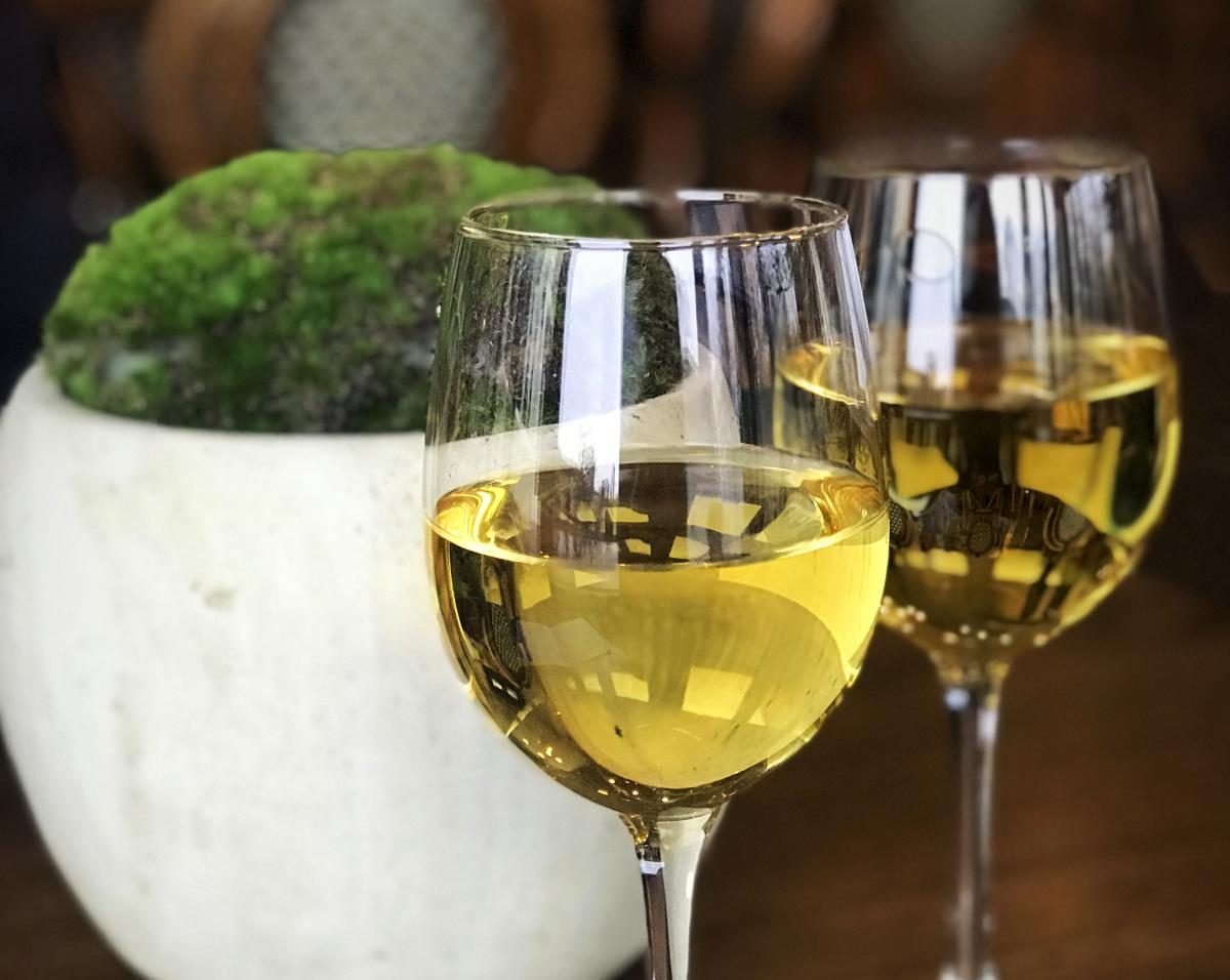 Wine glasses at Crossing Vineyards