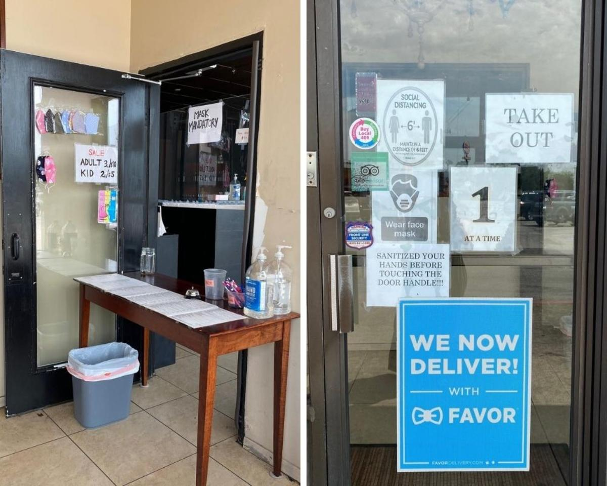 In addition to signs, many establishments such as Chaba's provide masks and/or hand sanitizer.
