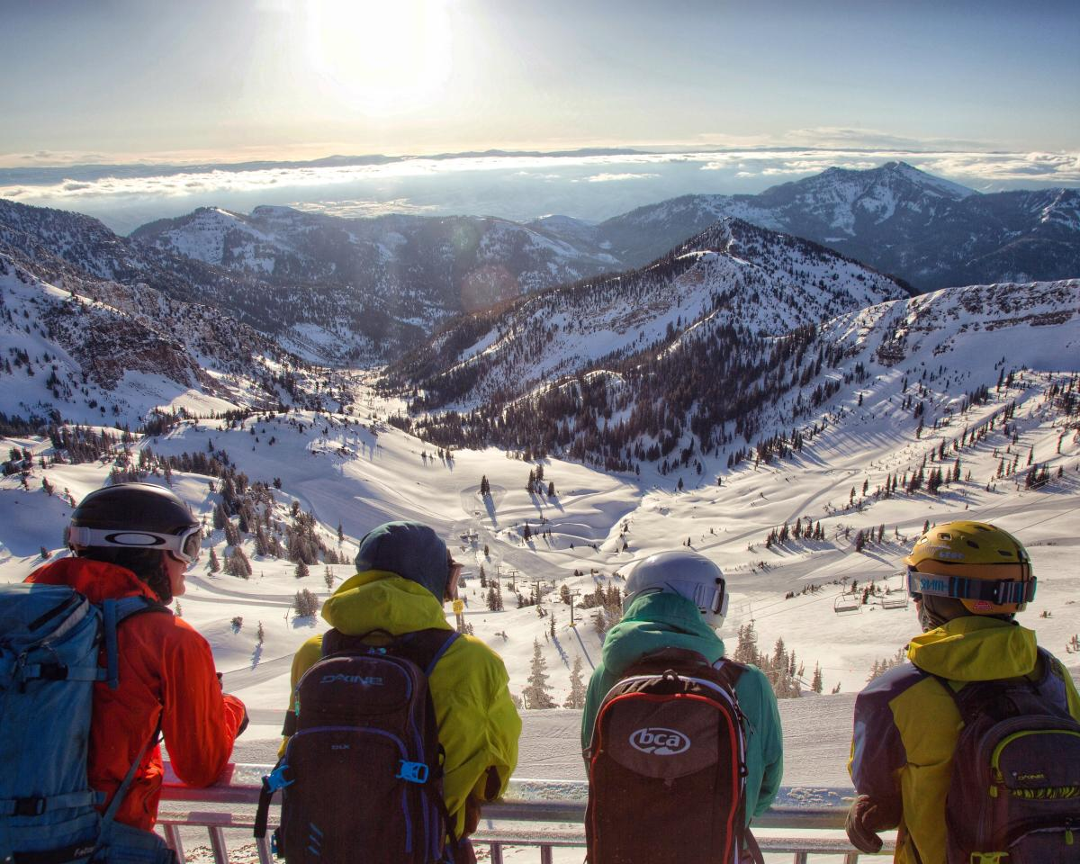 Friends Look Over Hidden Peak at Snowbird