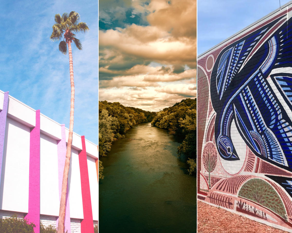 Photo collage of scenes from Palm Springs, Eau Claire, and Athens, GA