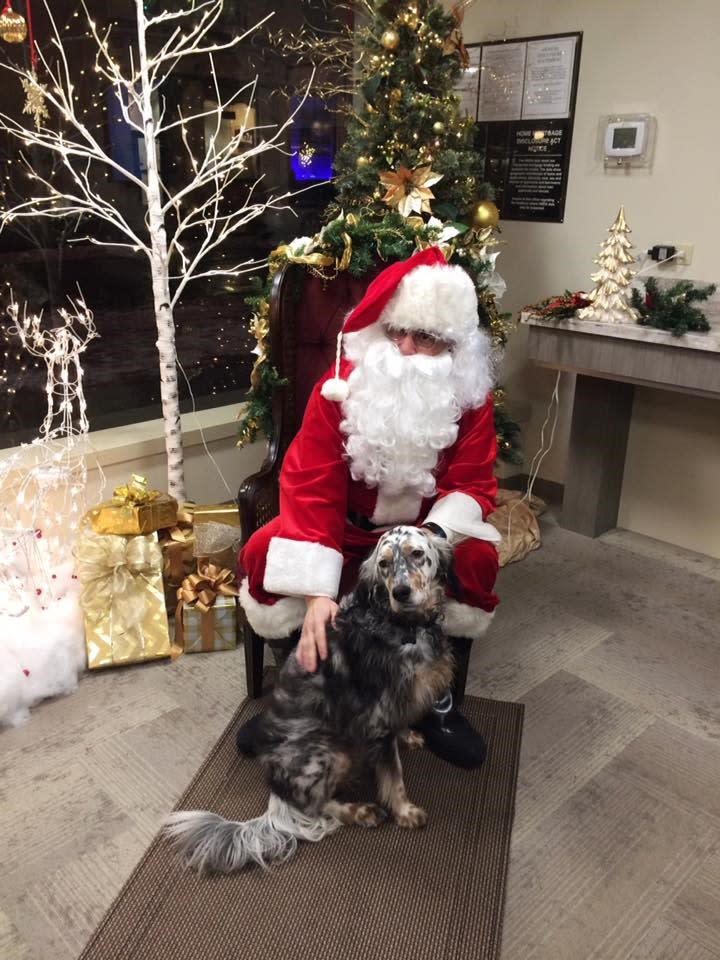Dog with Santa Downtown
