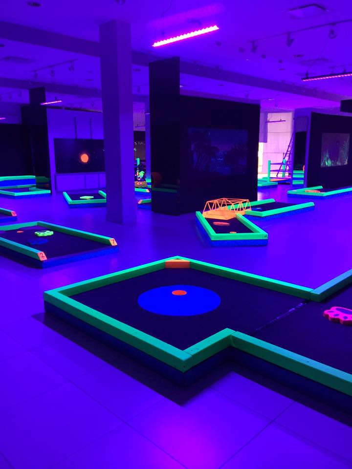Lunar Mini Golf under black lights