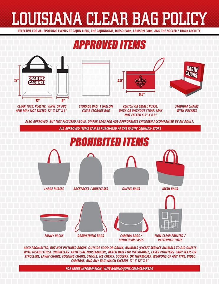 Ragin Cajun Bag Policy