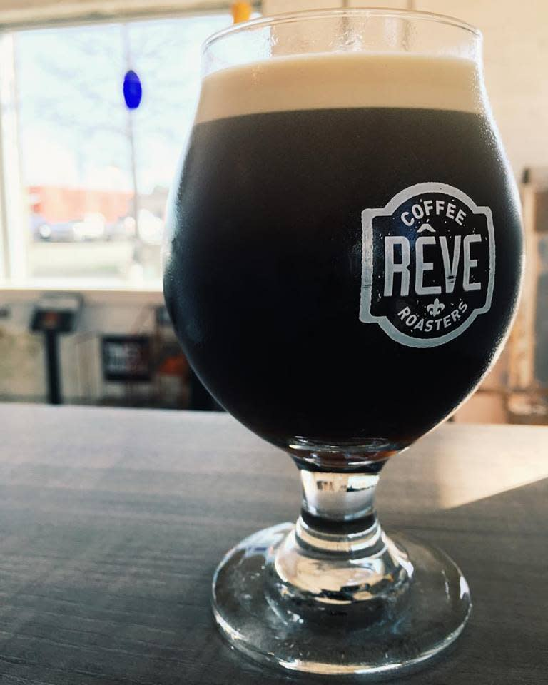 Glass of cold brew coffee at Reve Coffee Roasters in Lafayette, LA