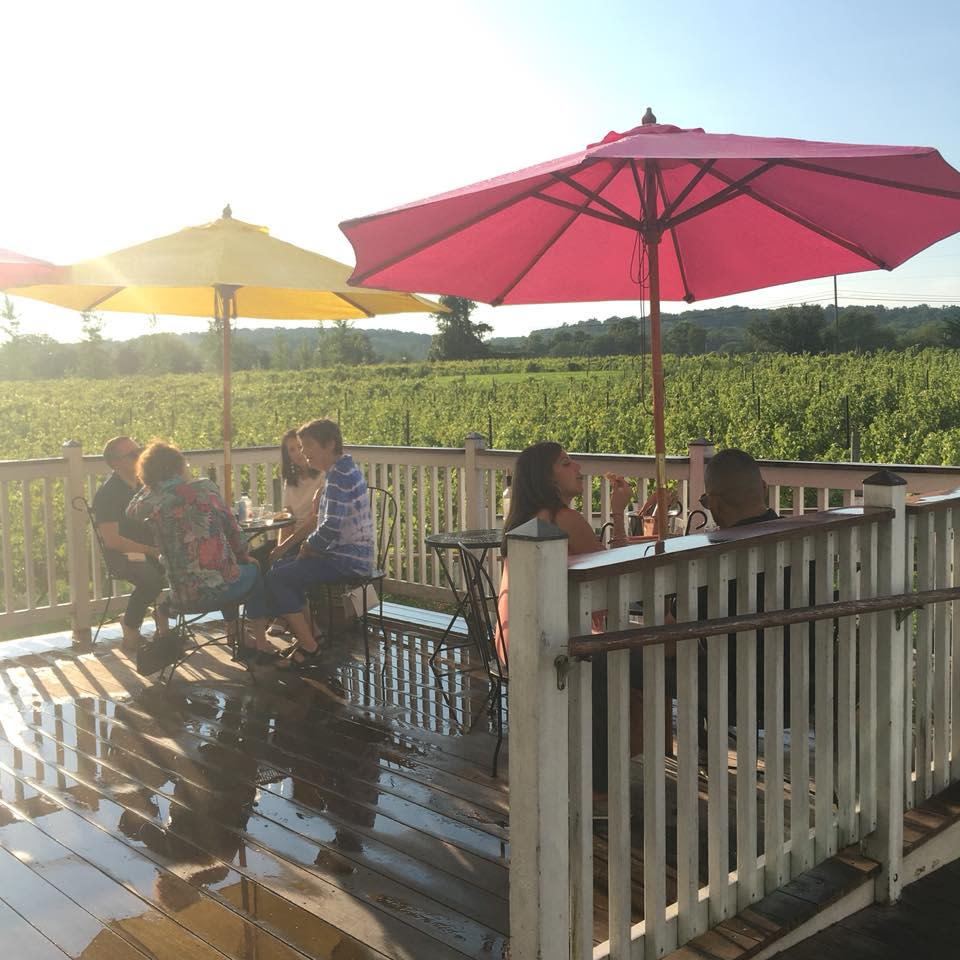 Wine tasters under umbrellas at the Hopewell Valley Vineyards in NJ