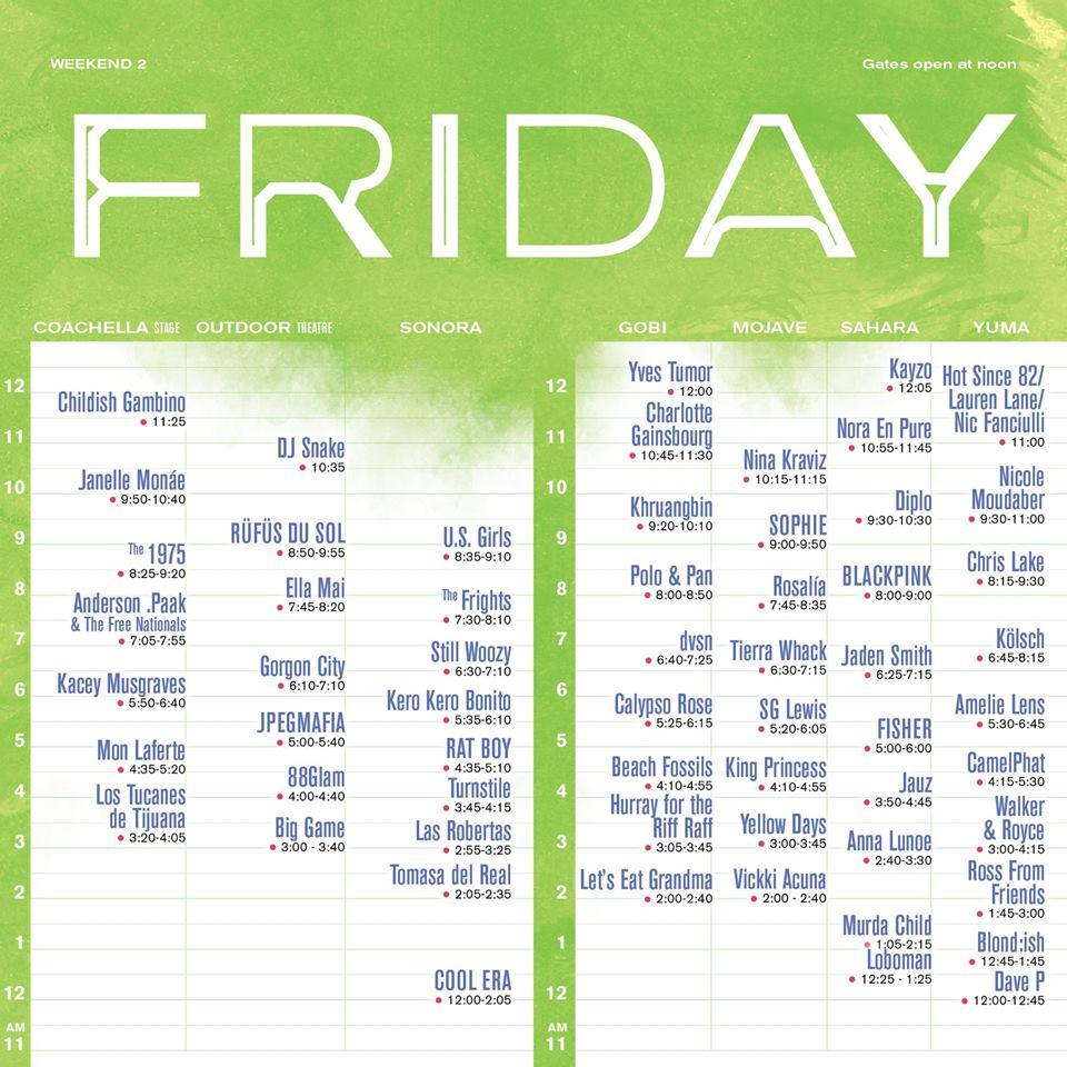 Coachella Friday Weekend 2 Set Times