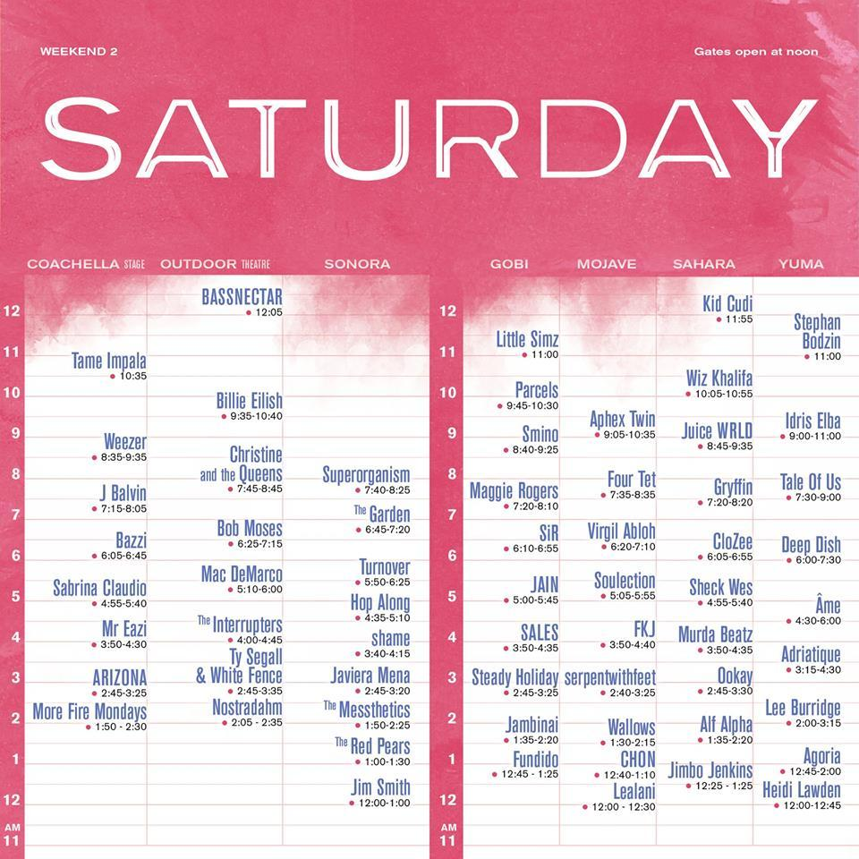 Coachella Saturday Weekend 2 Set Times