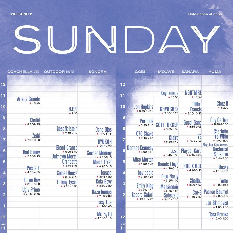 Coachella Sunday Weekend 2 Set Times
