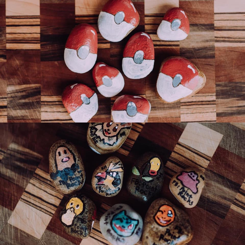 You might spot these pokeballs, painted by Katie Huber, in the Stevens Point Area.