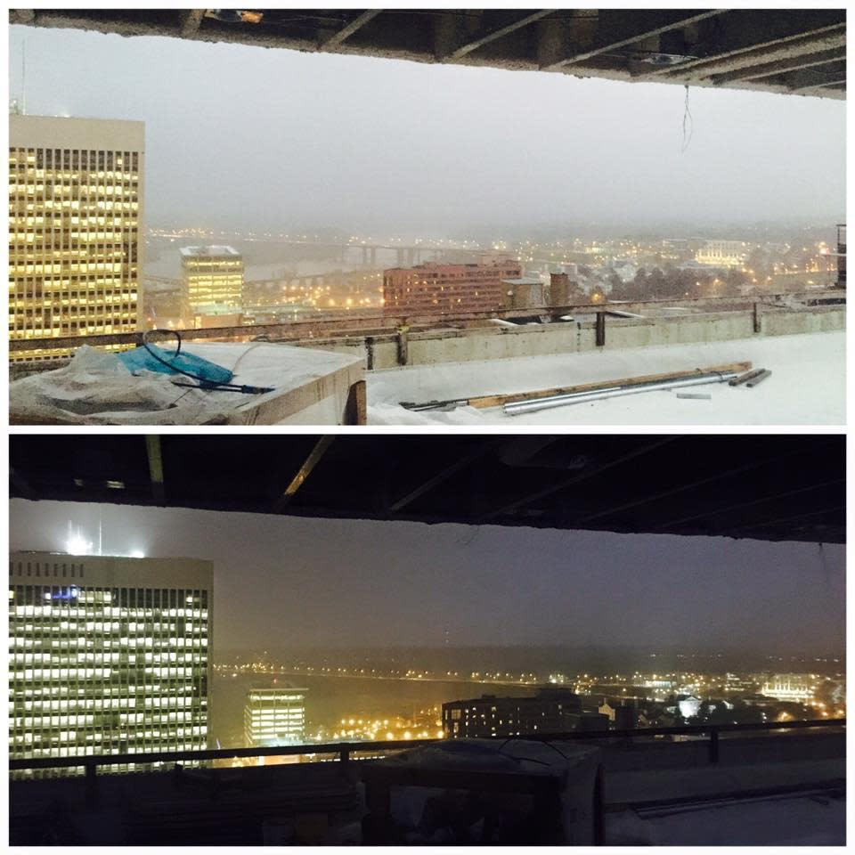 Rooftop view by day and night at The Kabana in Richmond, VA