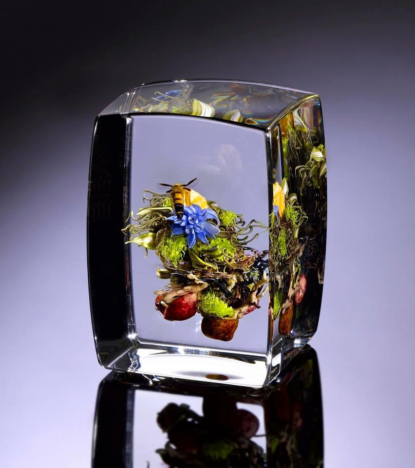 Glass block with nature art from Glassroots