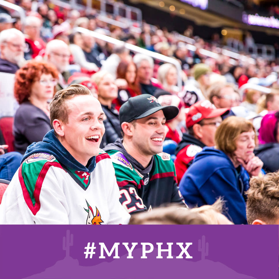 A Facebook frame with a purple banner at the bottom that says #myphx