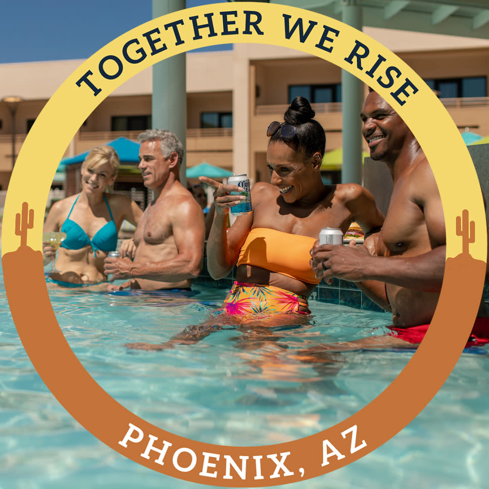 "A Facebook frame of a circle that says ""Together We Rise"" and ""Phoenix, AZ"""