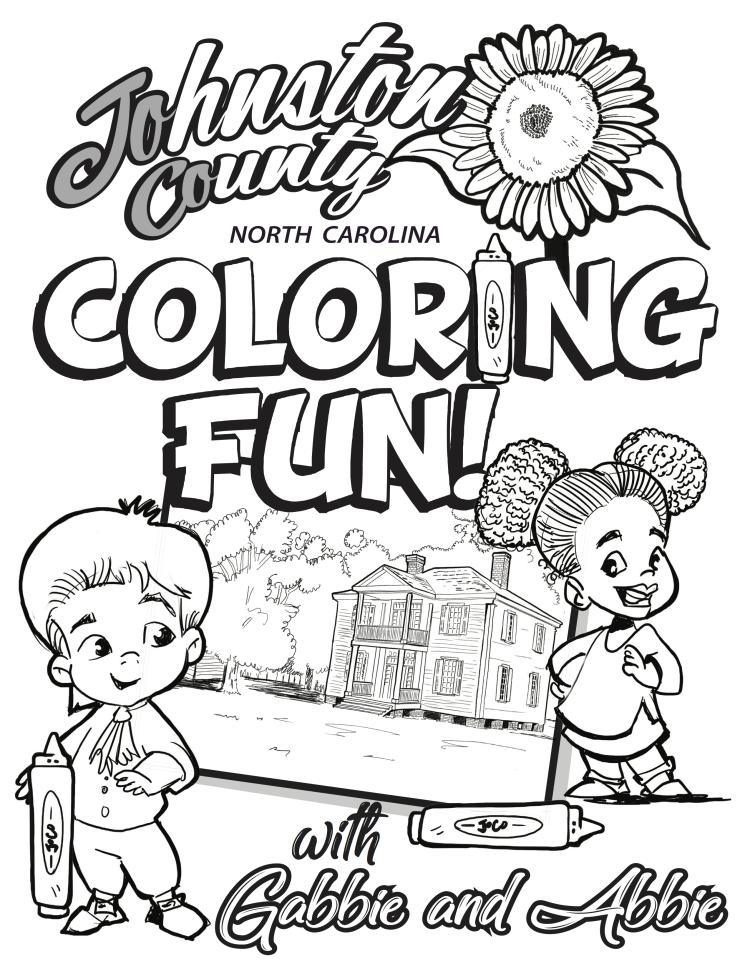 Johnston County Coloring Book Cover in black and white