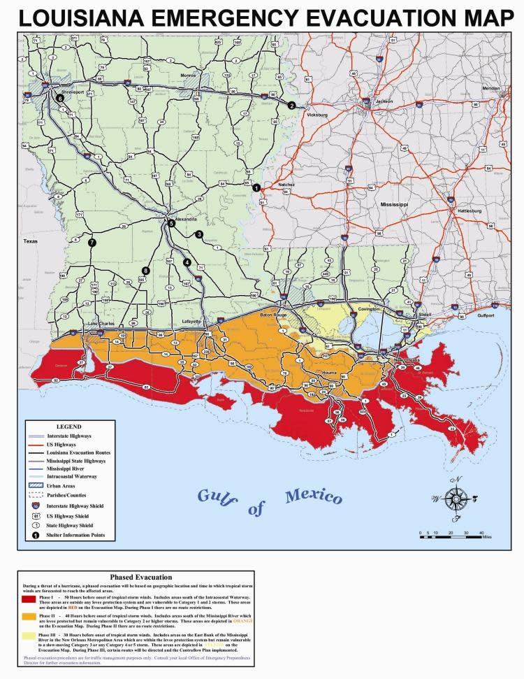 Louisiana Hurricane Evacuation Map