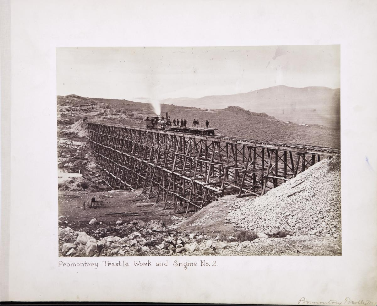 Andrew J. Russell (American, 1829–1902), Promontory Trestle Work and Engine No. 2, 1869, albumen silver print, courtesy Union Pacific Railroad Museum
