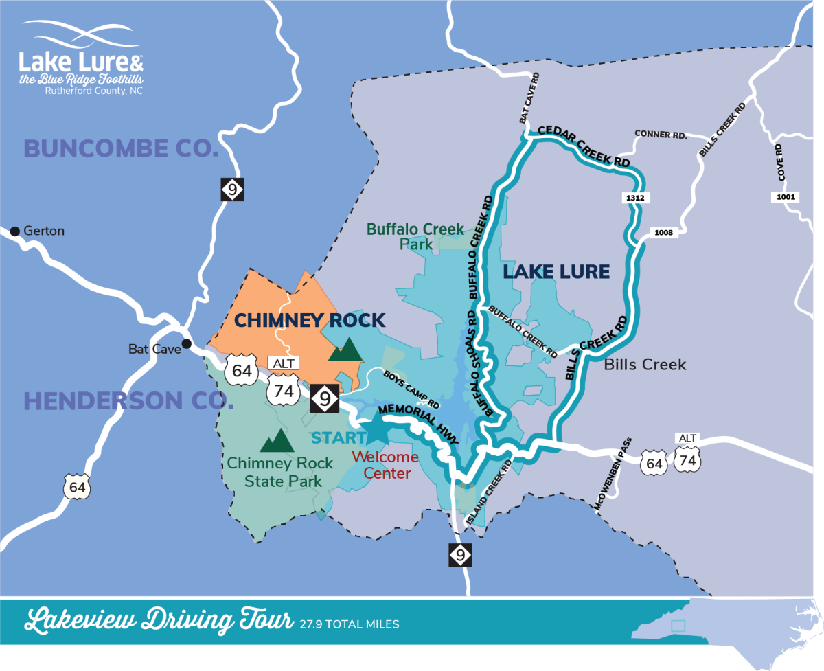 A map outlining the Lakeview Driving Tour route.
