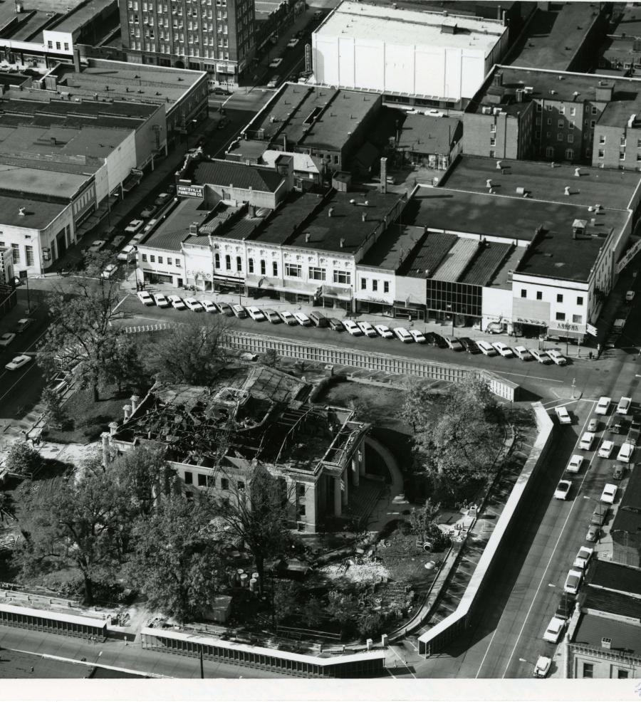 An overhead image from 1964 showing the Demolition of the 3rd Courthouse.