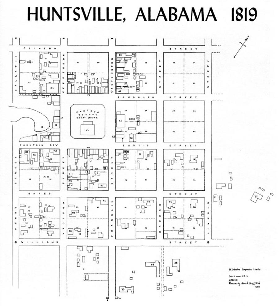 The floorplan of the Huntsville Alabama Courthouse from 1819.