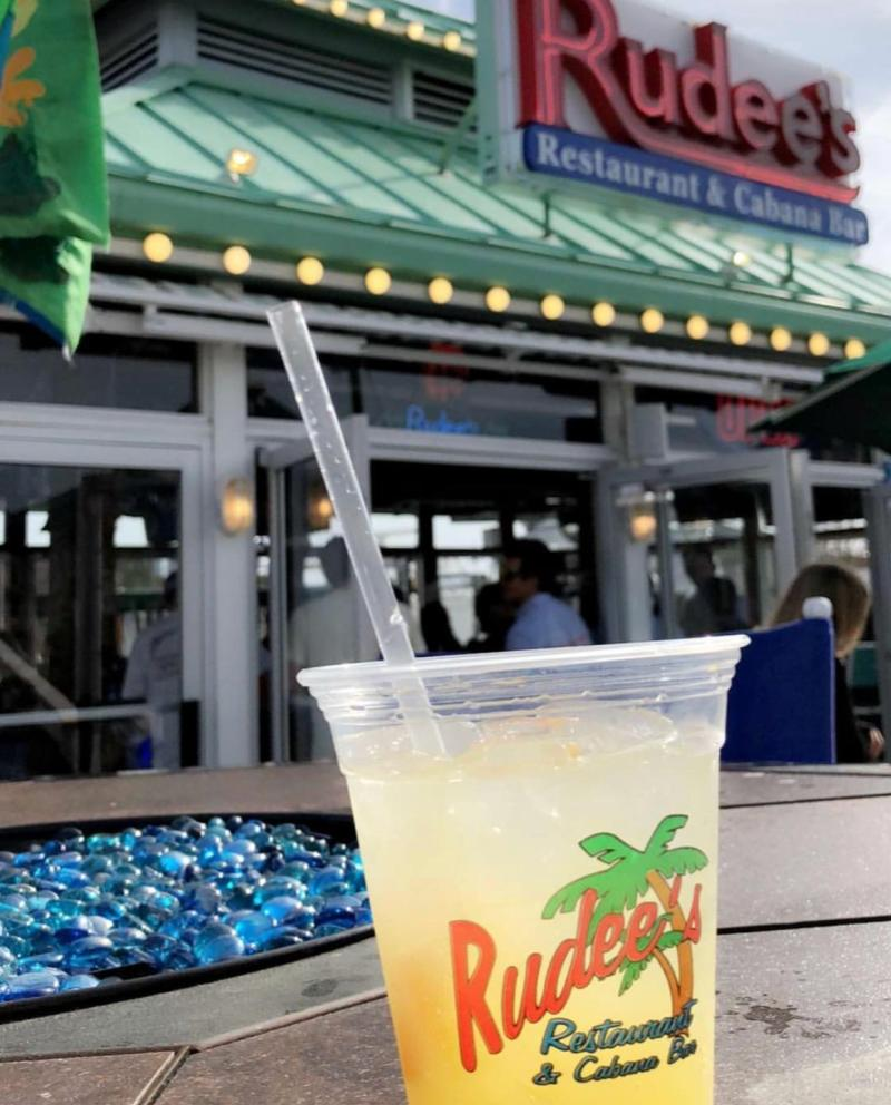 Rudee's Inlet features familiar drink favorites and open-air seating.