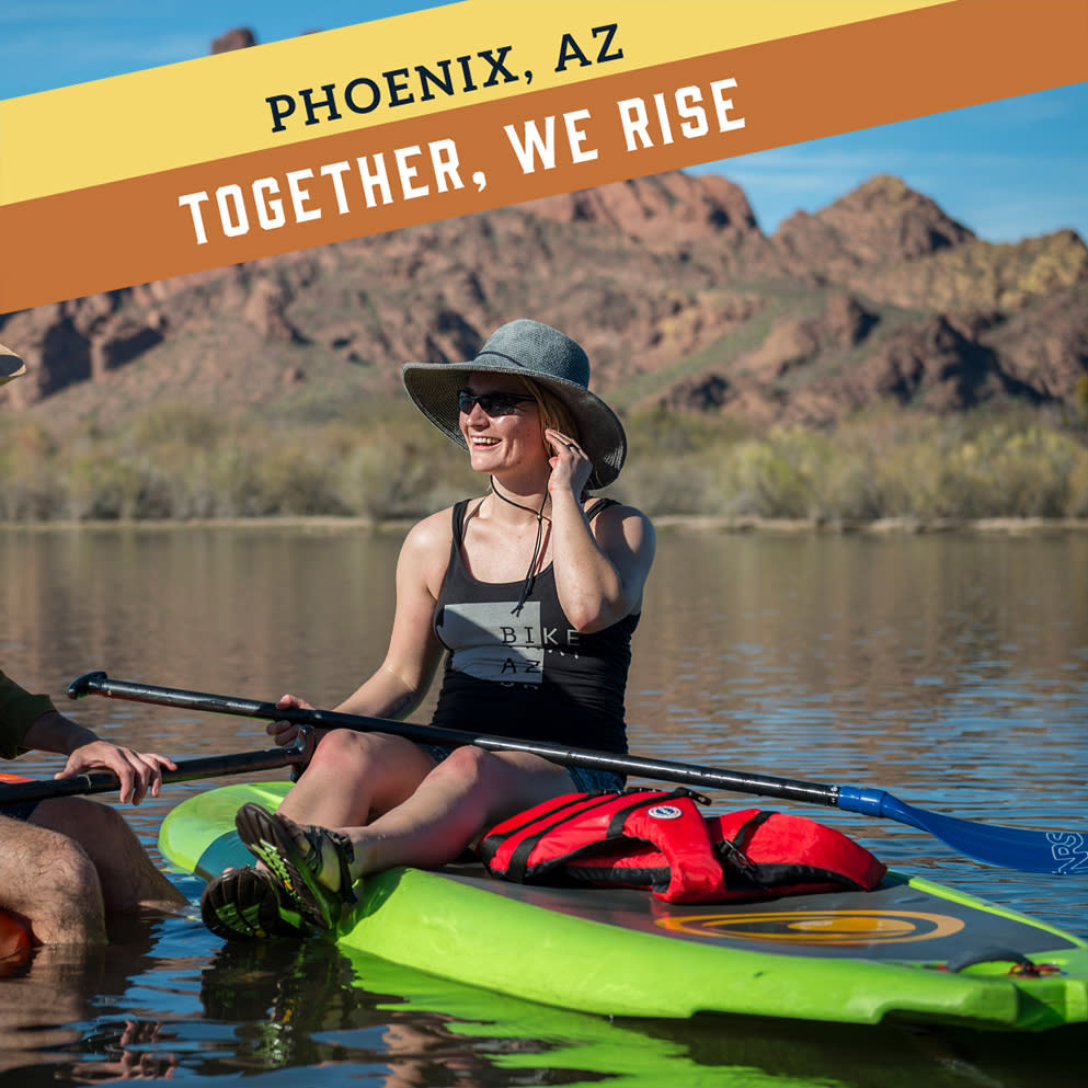 "A Facebook frame with the phrases ""Phoenix, AZ"" and ""Together, We Rise"" on the top lefthand corner"