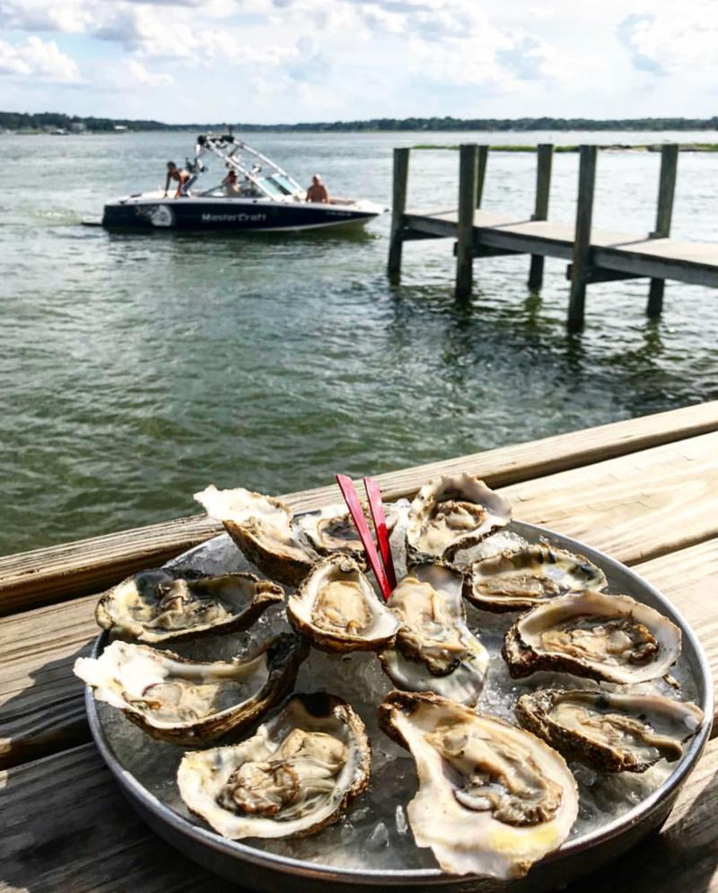 Plate of Oyster with Ocean View at The Back Deck Restaurant
