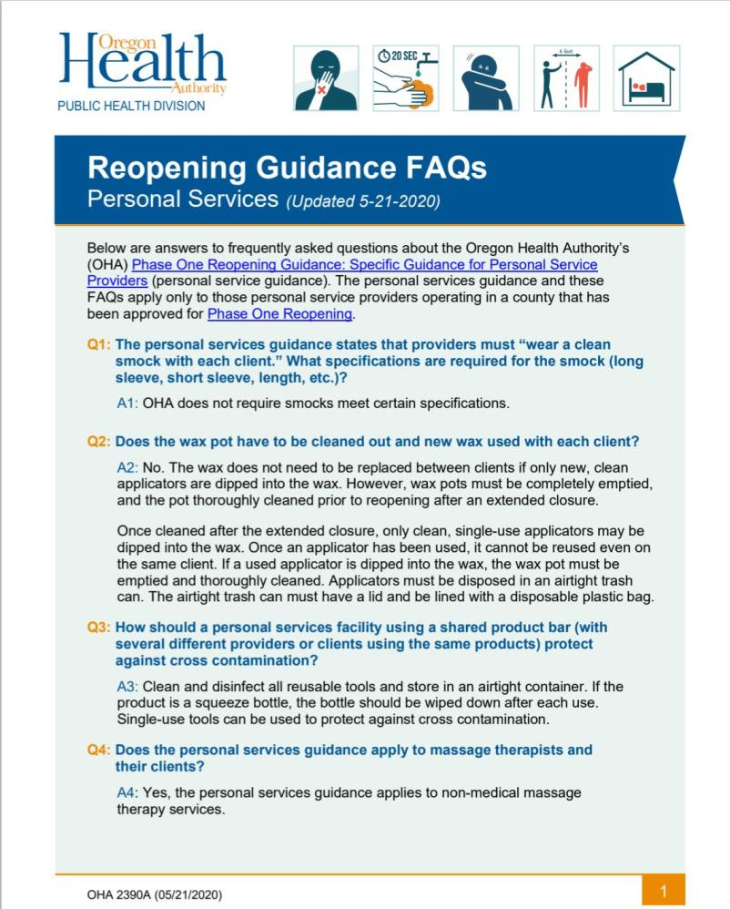 Personal Services Reopening FAQs