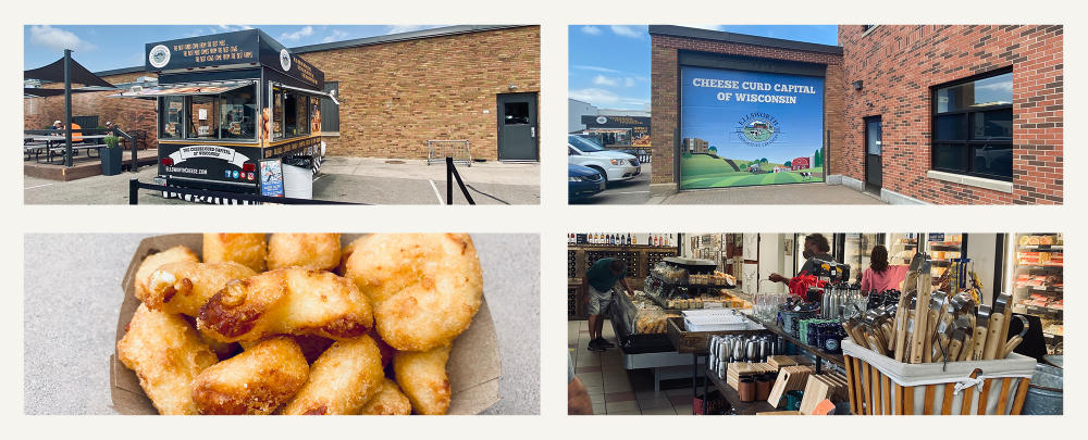Collage of food truck, cheese curds in Ellsworth Cooperative Creamery