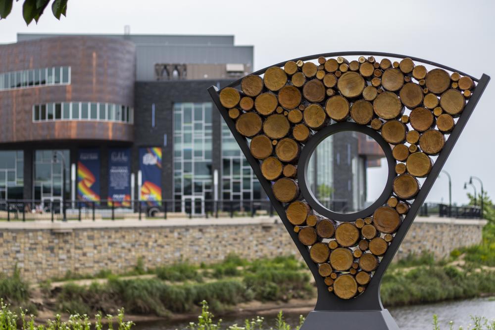 'Ingrain,' a sculpture by artist Dan Ingersoll, stands in Phoenix park near the Chippewa River.