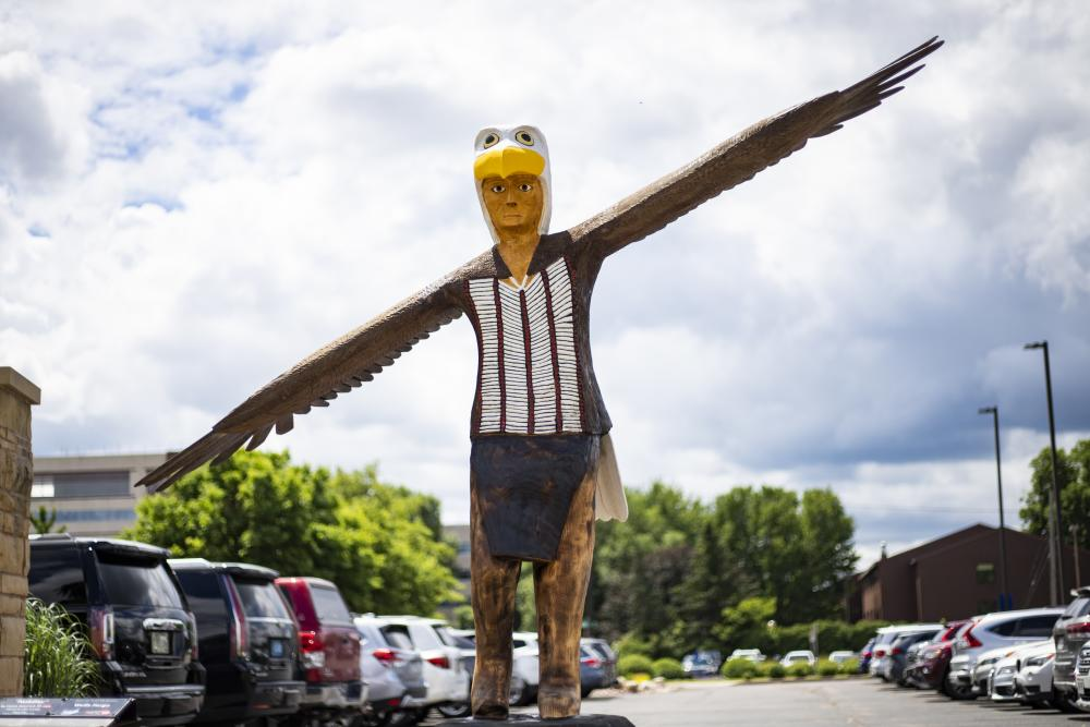 'Seeking the Divine' was created for the Eau Claire sculpture tour by artist Leesa Syryczuk.