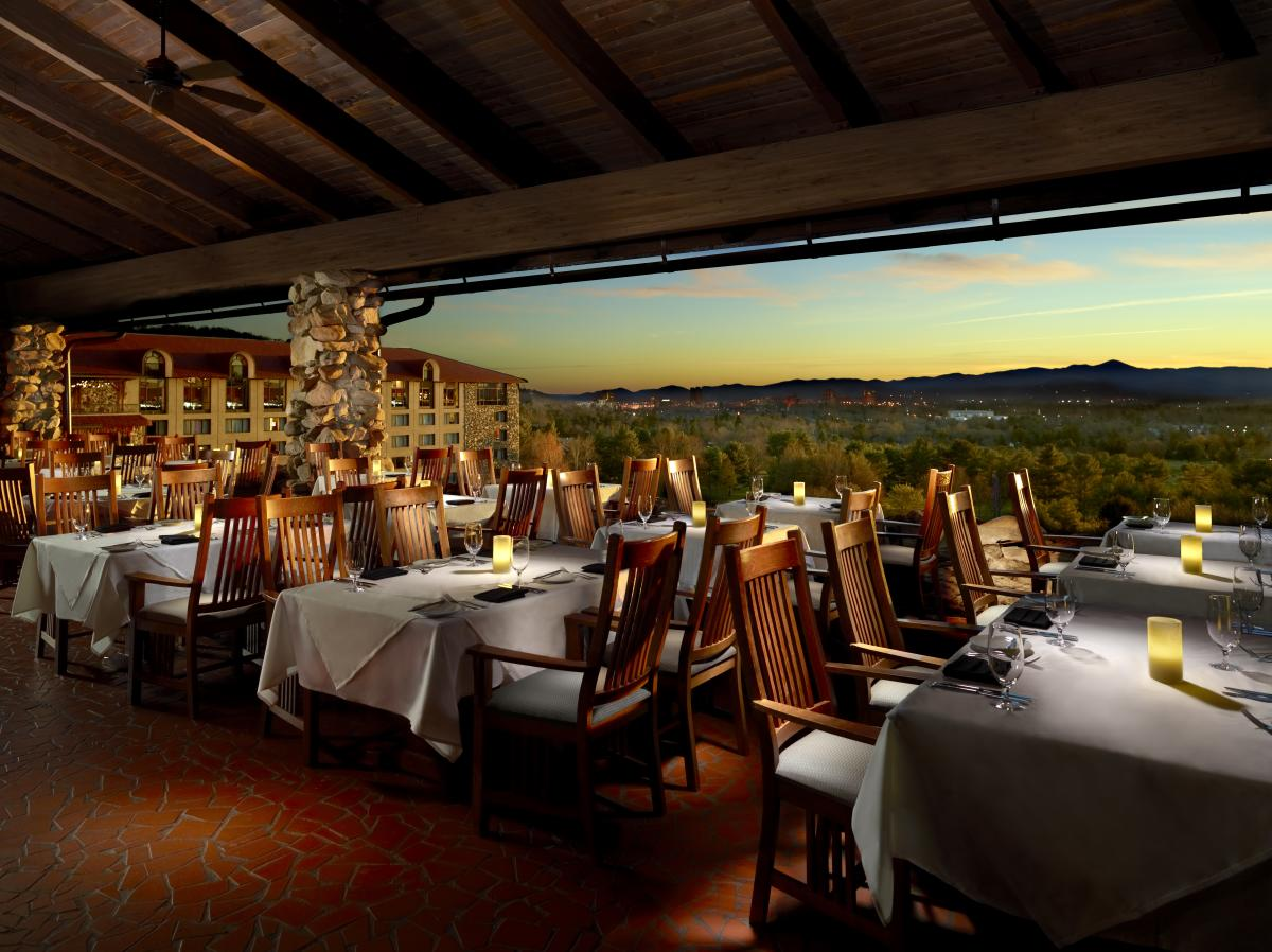 The Sunset Terrace restaurant at The Omni Grove Park Inn