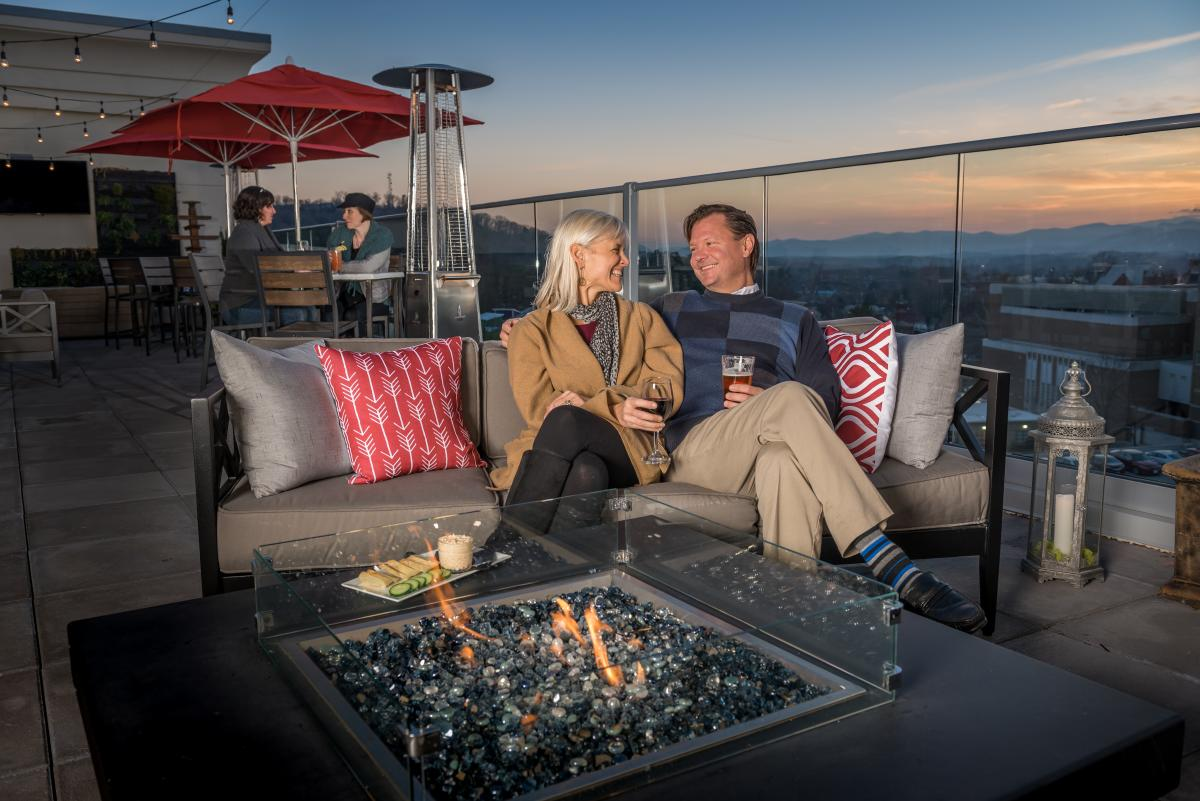 Couple at Pillar Bar Fire Pit