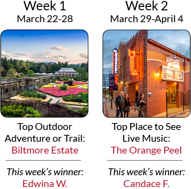 Asheville's Ultimate Top 8 Getaway Giveaway - Weeks 1 & 2