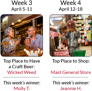 Asheville's Ultimate Top 8 Getaway Giveaway - Weeks 3 & 4