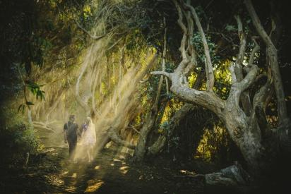 Couple walking through Los Padres National Forest