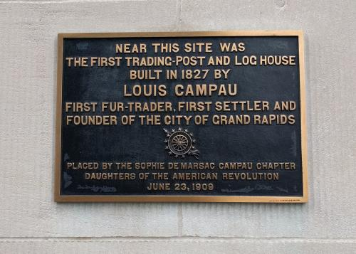 First Trade Post plaque in Grand Rapids