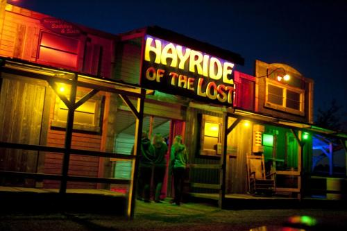 Bright colors light up the Hayride of the Lost Halloween attraction.