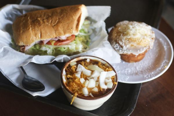 Sandwich, cup of soup and muffin from Acoustic Cafe in Eau Claire