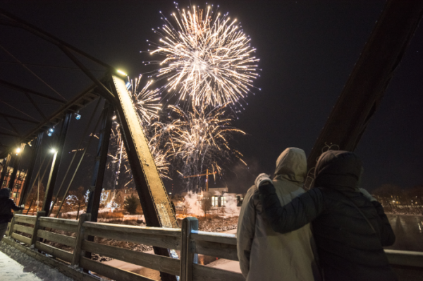 Winter fireworks in Downtown Eau Claire