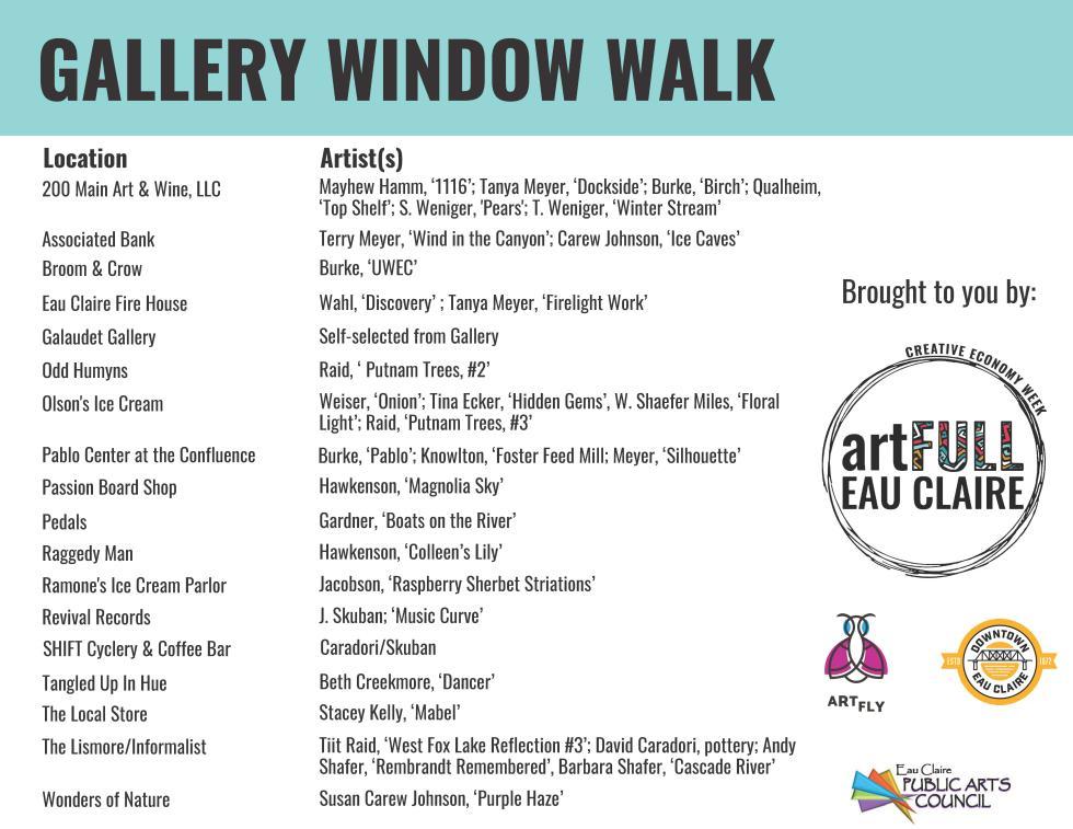Creative Economy Week Gallery Walk Window Artists