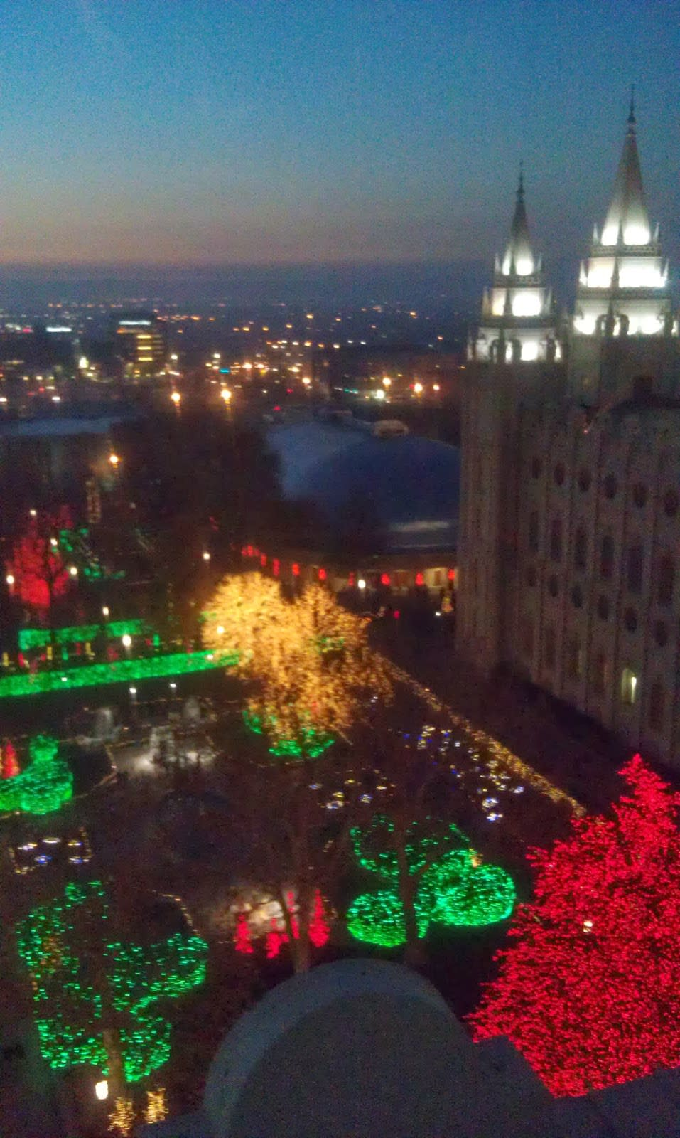 Lights above Temple Square