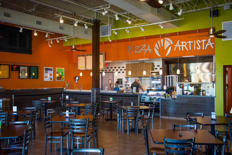 Interior view of Pizza Artista in Lafayette, LA
