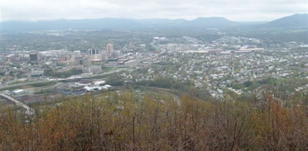 A view of the Roanoke Valley from Mill Mountain.