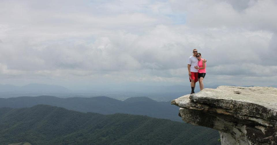 Sean Nicolio and Amber Parson at McAfee Knob on the Appalachian Trail.