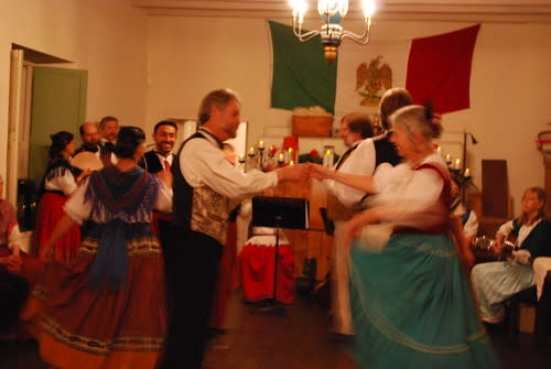 Traditional dancers at the Custom House for Christmas in the Adobes