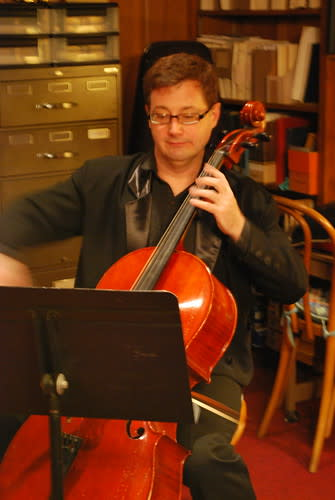Cellist Mike Rainey at Christmas in the Adobes